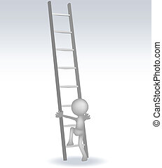 3d, 樓梯, 人