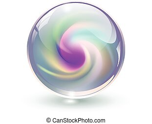 3d, 水晶, ガラス, 球