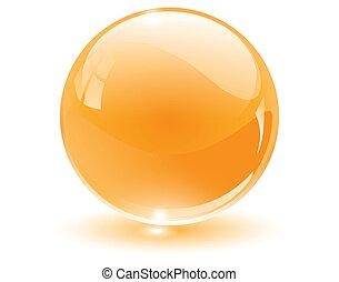 3d, 水晶, 玻璃, 球