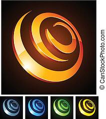 3d, 活気に満ちた, spirals.
