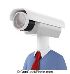 3d, 特寫鏡頭, 人, 安全照像机, 監視
