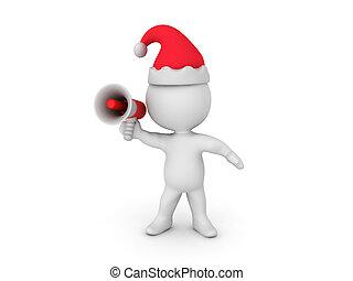 3d, 特徴, 話し, 上に, 大声で, スピーカー, そして, 身に着けていること, a, santa claus ハット