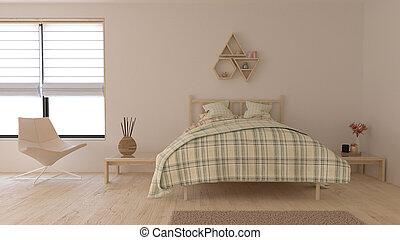 3d, 現代, 内部, 寝室