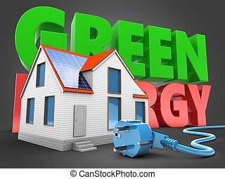3d, 現代, 家, ∥で∥, 緑, エネルギー, 印