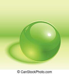 3d, 球, 緑