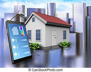 3d, 电话, 应用, 结束, 城市