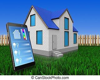 3d, 电话, 应用, 结束, 草坪, 同时,, 栅栏