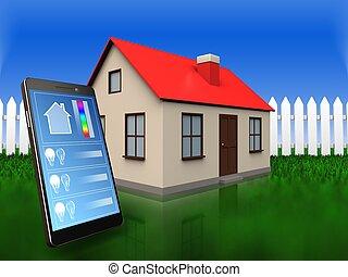 3d, 电话, 应用, 结束, 草, 同时,, 栅栏