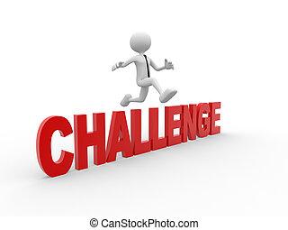 3d, 男のジャンプ, 上に, ∥, テキスト, 'challenge'