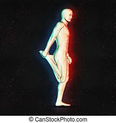 3d, 男性の数字, 中に, 足, 伸張, ポジション