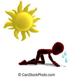 3d, 男性, 圖象, toon, 字, 出汗, 在, the, sun., 3d, rendering, 由于,...