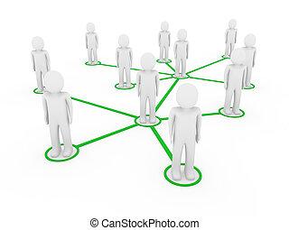 3d, 男性, 緑, ネットワーク, 社会