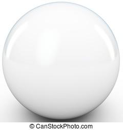 3d, 白い球面, 中に, スタジオ, 環境