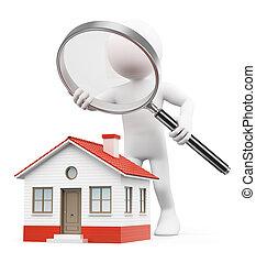 3d, 白色, 人們。, 尋找, 房子