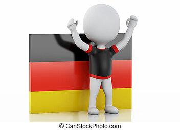 3d, 白色, 人們, 由于, 德國, flag.