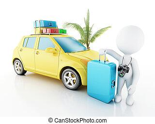 3d, 白色, 人們, 由于, 汽車, 以及, 旅行, suitcases.