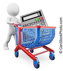 3d, 白色, 人們。, 購物, concept., 銷售