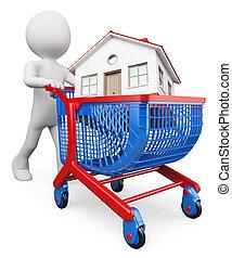 3d, 白色, 人們。, 購買一房屋, 概念