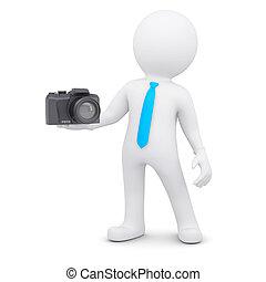 3d, 白色, 人, 以及, a, 照像機