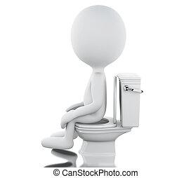 3d, 白, の人々, トイレ