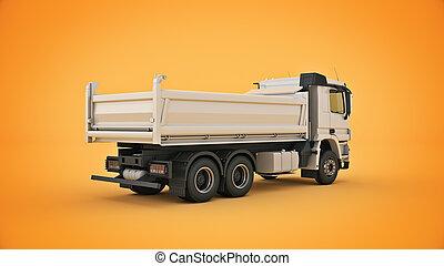 3d, 白, ゴミ捨て場, レンダリング, truck.