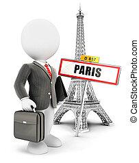 3d, 白, 人々が中にいる, パリ