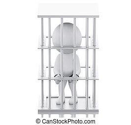 3d, 白, 人々が中にいる, prison.