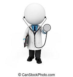 3d, 白, 人々, ∥ように∥, 医者