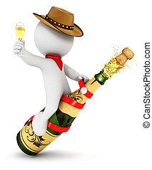 3d, 白, 人々, シャンペン, ロデオ
