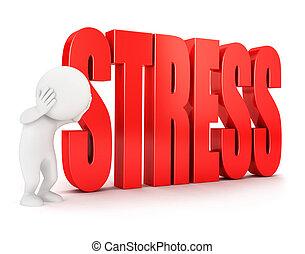 3d, 白, 人々, ストレス