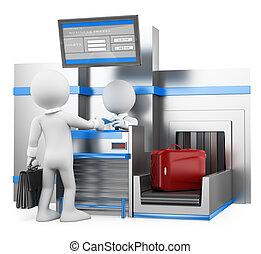 3d, 白, 人々。, ビジネスマン, 点検, 手荷物, 中に, 空港