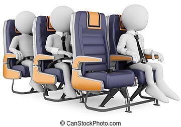 3d, 白, 人々。, ビジネス 人々, 上に, a, 空の旅
