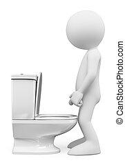 3d, 白, 人々。, 人, 中に, ∥, トイレ