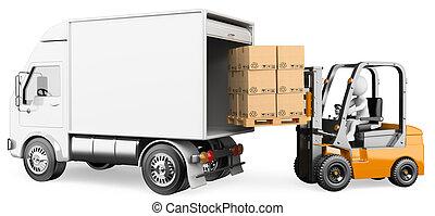 3d, 白, 人々。, 労働者, ローディング, a, トラック, ∥で∥, a, フォークリフト