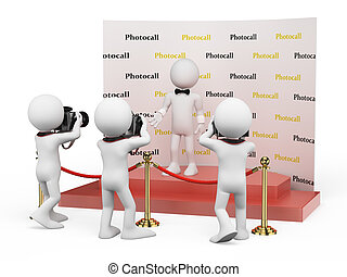 3d, 白, 人々。, 名声, 中に, a, photocall