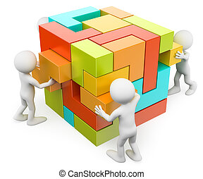 3d, 白, 人々。, 建物, そして, 作成, 概念