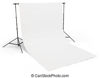 3d, 白, 背景, 中に, 写真撮影所