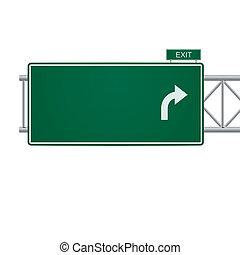 3d, 矢量, 空白, 高速公路 簽署