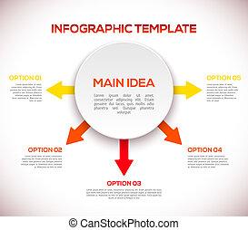 3d, 矢, circle., テンプレート, infographics