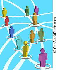 3d, 社会, ネットワーク, 人々