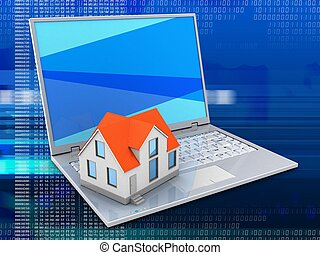 3d, 笔记本电脑, 同时,, 房子