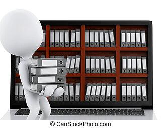 3d, 笔记本电脑, files., 白色, 人们