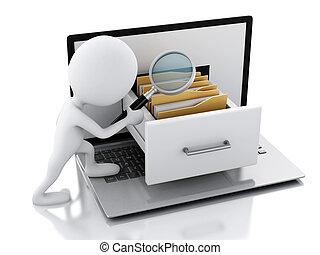 3d, 笔记本电脑, folders., 白色, 人们
