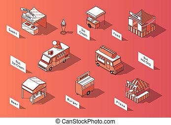 3d, 等大, 市場, 法廷, 食物, トラック, -