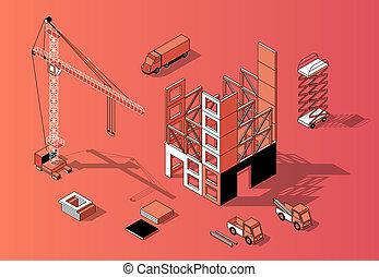 3d, 等大, 建設, 概念, 外面, 建物