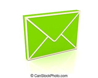 3d, 綠色, 信封, 在上方, 白色 背景