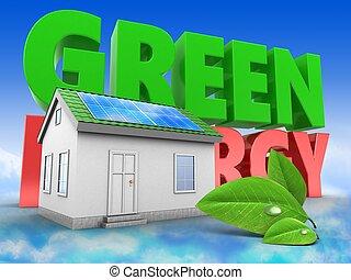 3d, 緑の家, ∥で∥, 緑, エネルギー, 印