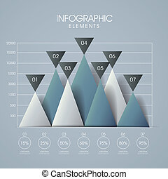 3d, 线, 同时,, 三角形, 图表, infographics