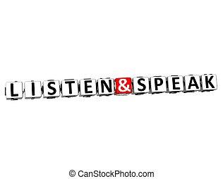 3d, 聞きなさい, そして, 話す, ボタン, ここに かちりと鳴らしなさい, ブロック, テキスト