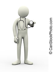 3d, 聴診器を持っている医者, auscultation